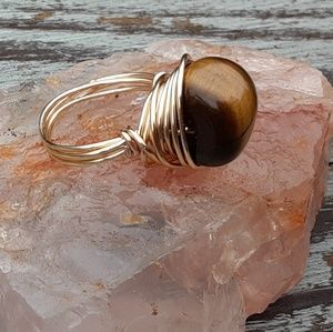 Lovely Earthy Tiger's Eye Crystal Ring Size 7